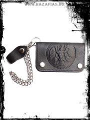 Rakamazi Turulos bőr pénztárca fekete- lánccal