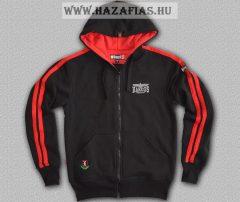 HARCOS kapucnis zipzáras pulóver piros csíkkal