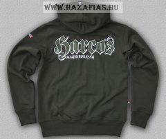 HARCOS kapucnis zipzáras pulóver