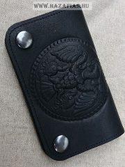 Rakamazi Turulos bőr pénztárca - fekete