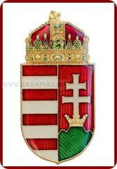 Magyar koronás címer, 38 mm, fmgy, csíkozott