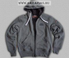 HARCOS kapucnis zipzáras bélelt, vastag pulóver