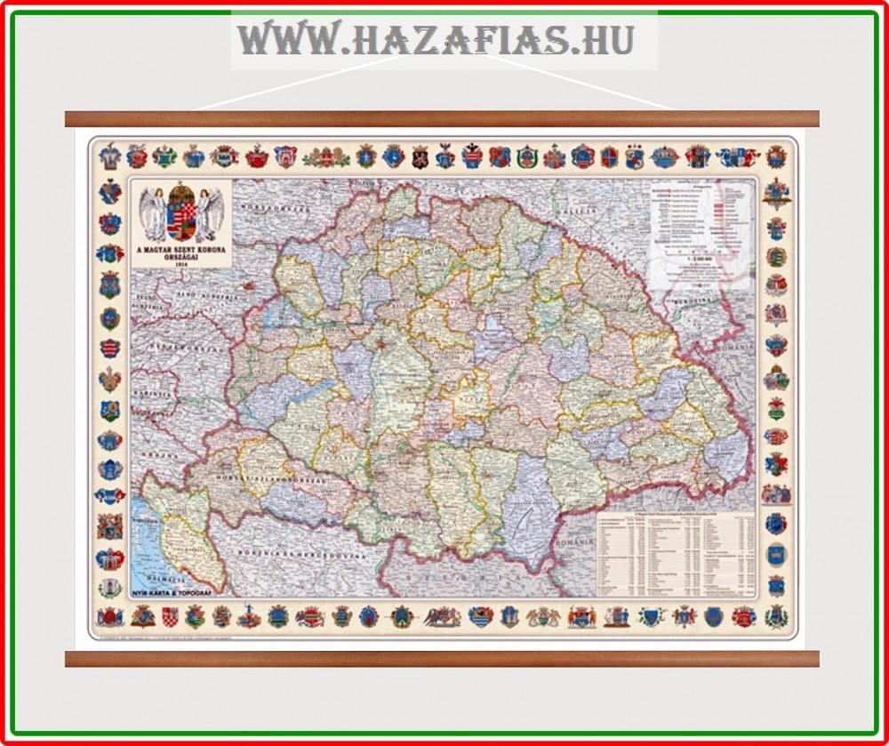 5a4c66e3b7 Térkép A Magyar Szent Korona Országai 1914 faléces - magyarbolt ...