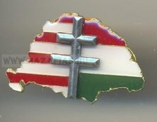 Nagy-Magyarország Árpádsávval kettős kereszttel kitűző