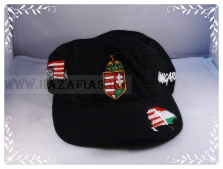 Sapka címeres fekete-military