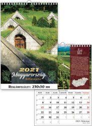 Magyarország-borbarangolás naptár fali, 23x33 cm