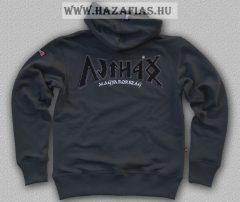 HARCOS kapucnis zipzáras pulóver szürke-fekete