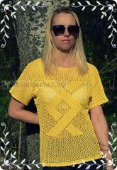 Kötött női felső -sárga