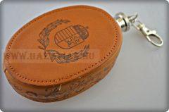 Magyar Címeres mini flaska,bőr borítással-85 ml.