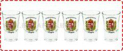 Pálinkás pohár szett 3,5cl 6db Babér címeres Magyarország