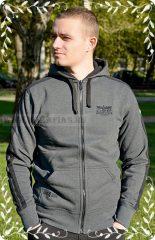 HARCOS kapucnis zipzáras pulóver  szürke fekete csíkkal