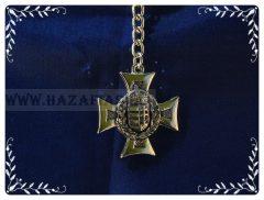 Kulcstartó-Vaskereszt-lombos címer-arany,kétoldalas