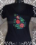 Magyaros női hímzett póló- fekete