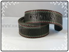 Rovásírásos bőröv,turullal,piros-fehér-zöld szegély varrással