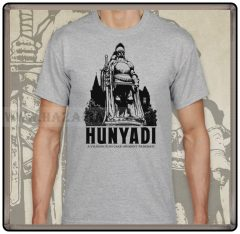 Hunyadi szobor-szürke póló
