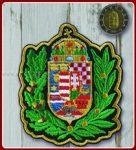 Egyesített címer koszorúval felvarró 9,5x8 cm