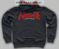 HARCOS kapucnis zipzáras pulóver szürke-piros