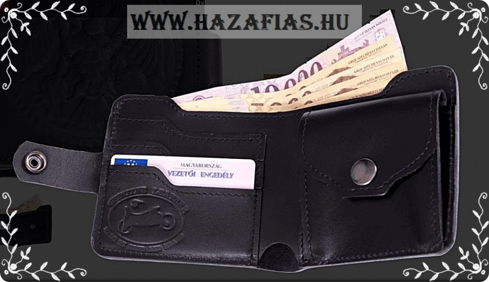 Bőr pénztárca Turul fekete c14e957936