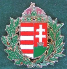 Lombos magyar címer színes koronával, 30 mm