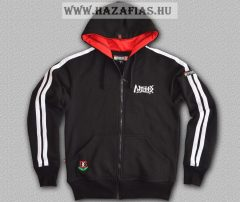 Magyar HARCOS kapucnis zipzáras pulóver fehér csíkkal